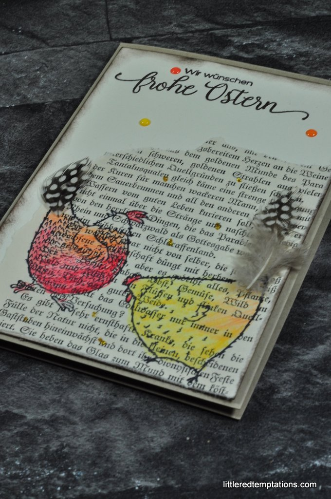 stampin up Karte coloriert gestempelt im vintage look, cards