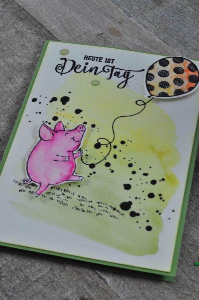 Schweine von Stampin Up als Geburtstagskarte
