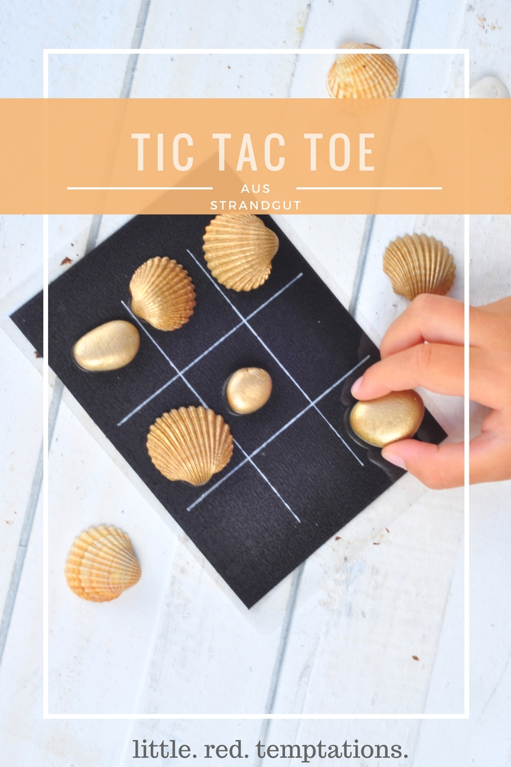 TIC TAC TOE mit Strandgut - Muscheln und Steinen - Kleines DIY