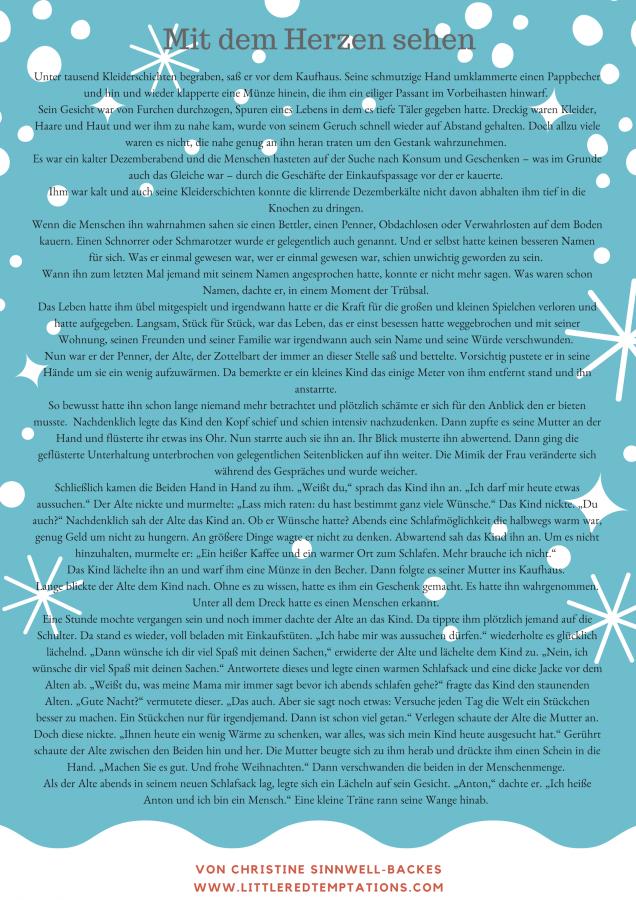 Eine besinnliche Geschichte für die Weihnachtszeit oder den Advent: Mit dem Herzen sehen. Zum Vorlesen in Altenheimen, Kindergärten oder Schulen.