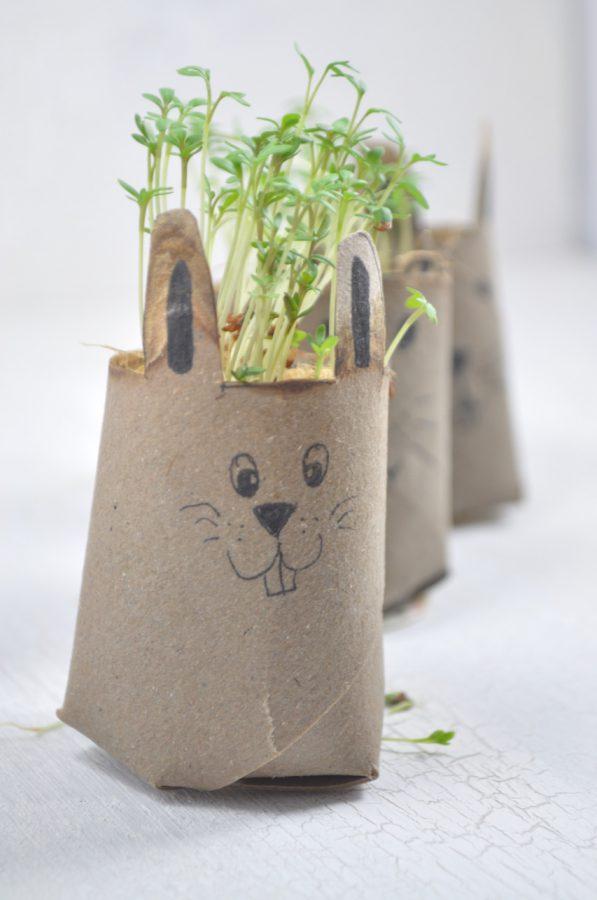 Kressehasen aus Klopapierrollen - schnelle und süße DIY-Bastelidee für Ostern. Klasse mit Kindern zu machen und sehr einfach.