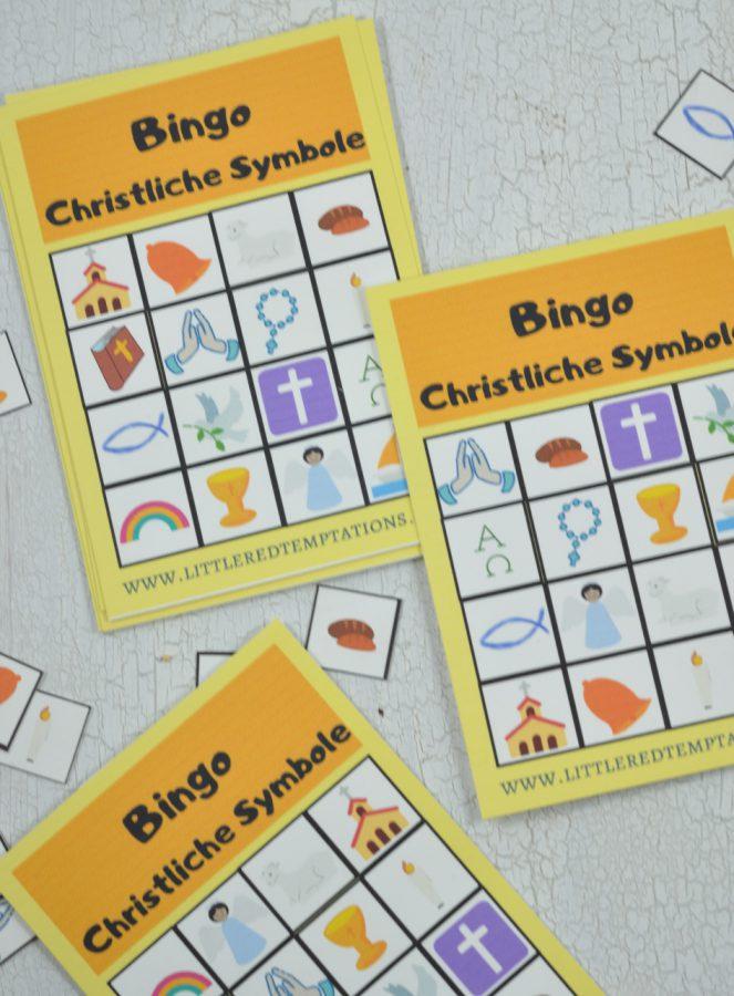 Perfekt für den Kommunionunterricht, die Sonntagsschule, Religion oder Gruppenstunde ist dieses Bingo mit christlichen Symbolen. Es verbindet Spielspaß mit Lerneffekt.