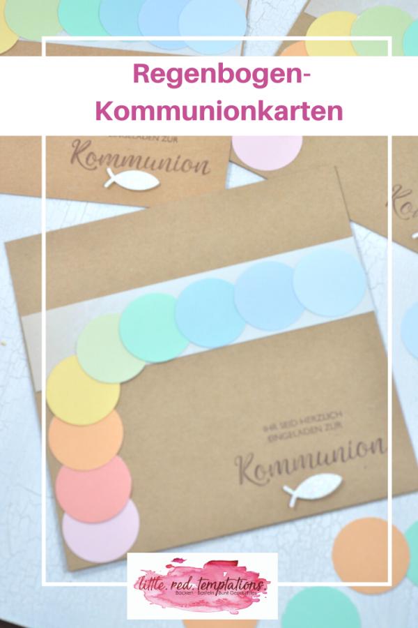 Wenn das Kommunion-Motto Regenbogen lautet, dürfen die Einladungskarten natürlich auch in den Regenbogenfarben leuchten. Auf dem Blog habe ich zwei Regenbogen-Karten zur Inspiration.