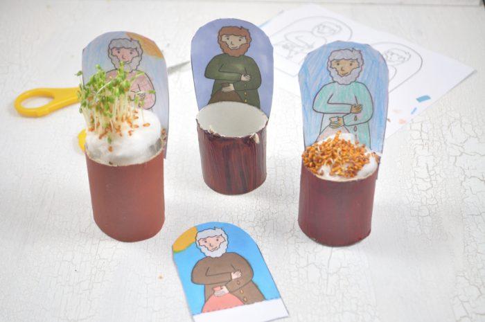 Für Kinder superverständlich: das Gleichnis vom Sämann als Bastelidee. Auf dem Blog kannst du dir kostenlos die Vorlage downloaden und mit den Kindern kleine Kresse-Sämänner basteln.