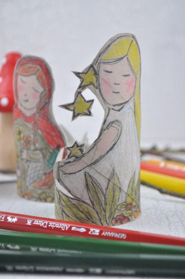 Märchenfiguren ganz einfach aus Klopapierrollen basteln - super um mit Kindern das Thema Märchen darzustellen