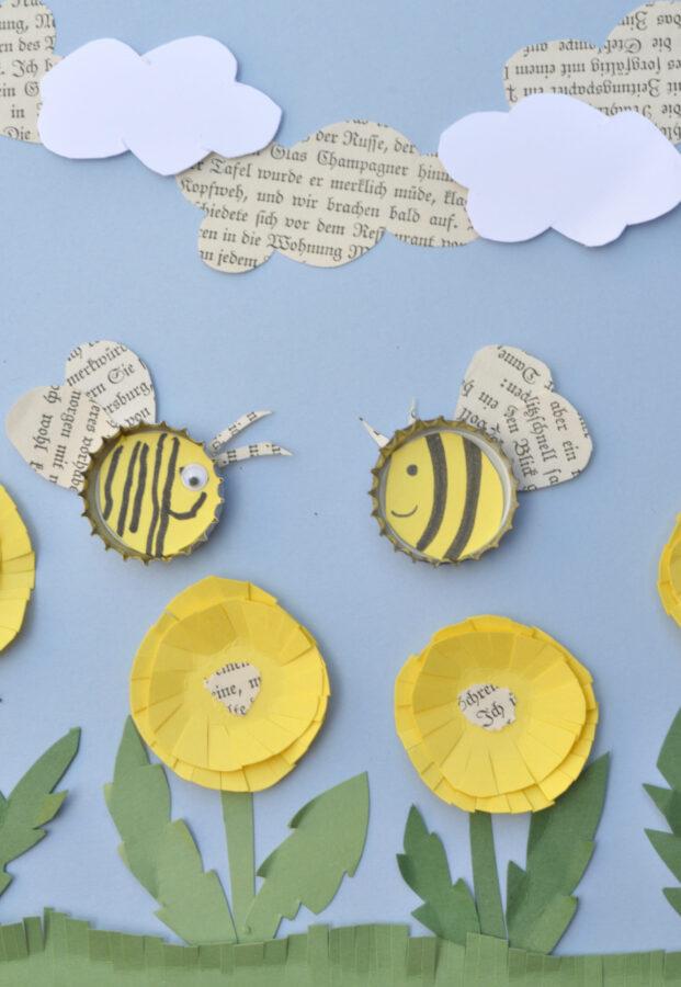 Bienen-Spiel-Bild - Aus Kronkorken und Magneten basteln wir fliegende Kronkorkenbienchen. Diese lassen sich über das Bild schieben und fliegen munter umher.