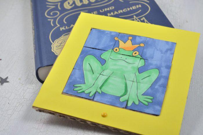 Schiebepuzzle aus Karton - einfaches Geduldsspiel aus Pappkarton im Märchenstil