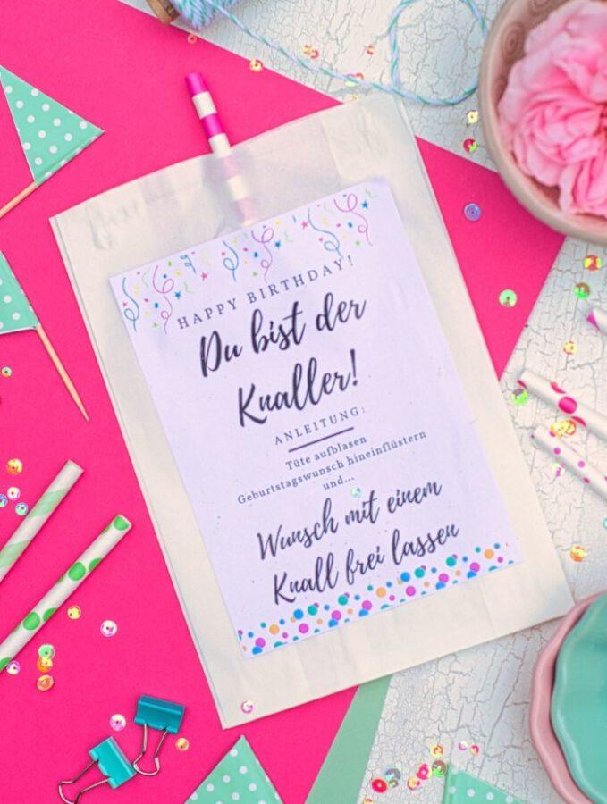 Die Geburtstagsknalltüte - Perfekt für ein kleines Mitbringsel am Geburtstag: Geburtstagswunsch hinein pusten und knallen lassen!