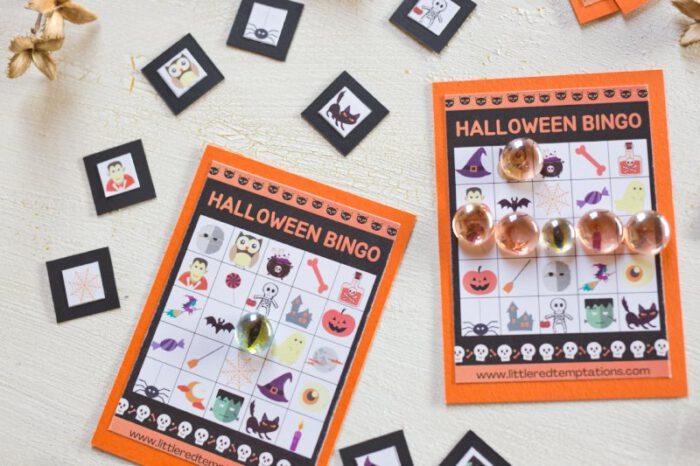Halloween-Bingo zum Gratisdownload: perfekt um an Halloween mit Kindern zu spielen. Das kleine Partyspiel macht Freude und ist ganz einfach.